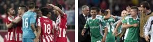 Los jugadores de Olympiakos (izq.) y Ludogorets (dcha.) celebran sendos triunfos.