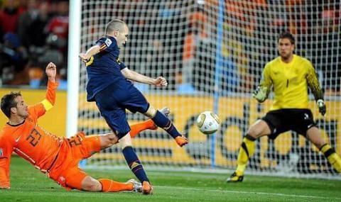 Iniesta (España) marcó en el minuto 116 de la final del Mundial 2010