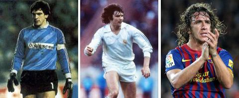 Arconada (Real Sociedad), Camacho (Real Madrid) y Puyol (Barcelona)