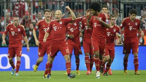 El Bayern Munich 2012-2013 celebrando un gol.