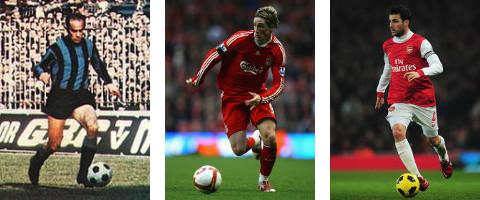 Luis Suárez (izq.), Fernando Torres (centro) y Cesc Fàbregas (drcha.)