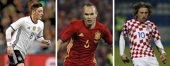 Özil (Alemania), Iniesta (España) y Modrid (Croacia)