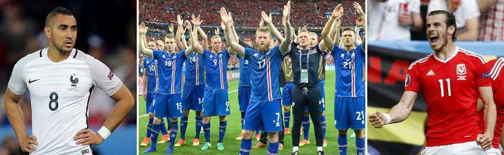 Payet (izquierda), Islandia (centro), y Bale (derecha), protagonistas de la Eurocopa 2016.