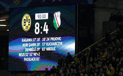 Imagen del marcador del Borussia Dortmund-Legia.