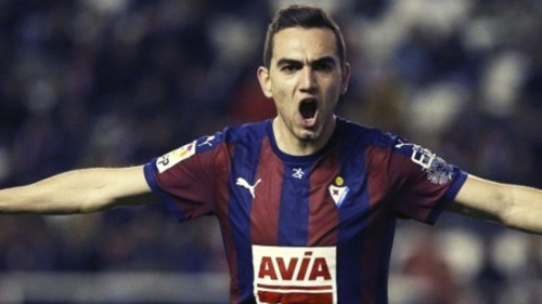Escalante, centrocampista de la SD Eibar, autor del gol más rápido de la primera vuelta.