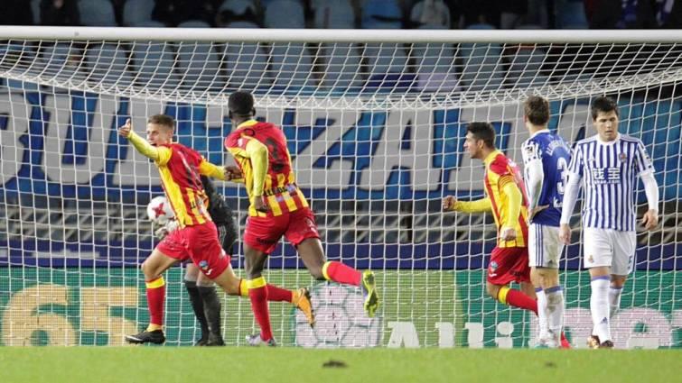 El Lleida celebra el 2-3 con el que eliminó a la Real Sociedad