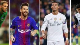 De izquierda a derecha: Oblak, Messi, Cristiano Ronaldo y Guedes.