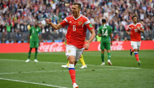 Denis Cheryschev celebra uno de sus goles.