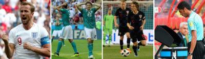Kane, dos jugadores alemanes, Modrid y un árbitro consultando el VAR