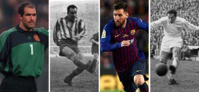 Zubizarreta, Zarra, Messi y Gento, poseedores de varios récords de la Liga.
